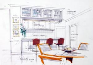 design sketch of kitchen interior